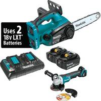 "MAKITA 18V LXT (36V) 5.0AH LITH-ION 12"" CHAIN SAW KIT, DUAL PORT CHARGER AND ANGLE GRINDER"