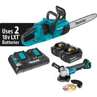 "MAKITA 18V X2 LXT (36V) 5.0AH Lith-ion 14"" Chain Saw Kit, Dual Port Charger And Angle Grinder"