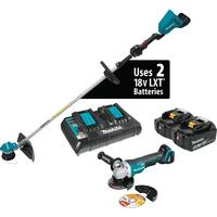 MAKITA 18V LXT (36V) 5.0AH LITH-ION STRING TRIMMER KIT, DUAL PORT CHARGER AND ANGLE GRINDER